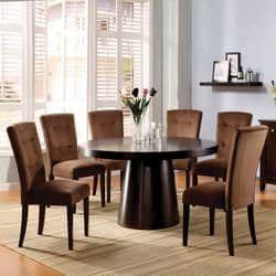 Furniture Of America Amari Velvet 7Piece Dining Furniture Set Pleasing 7 Piece Round Dining Room Set Decorating Inspiration