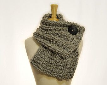 Button Cowl Light Grey with a Black by StitchesintheLibrary