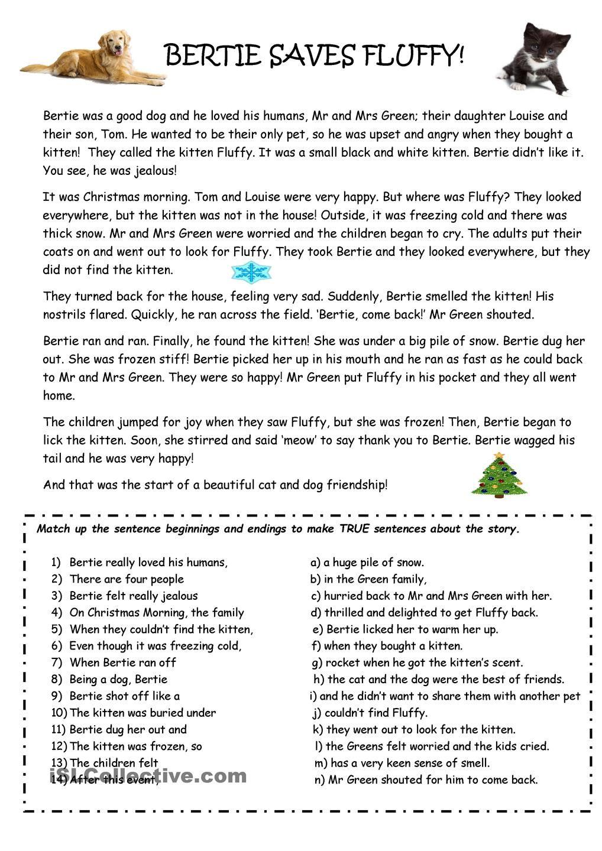 Worksheets Auditory Comprehension Worksheets worksheets auditory comprehension tokyoobserver just bertie the dog saves fluffy kitten reading worksheet free esl printabl
