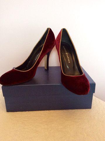 d6c905b827f BRAND NEW REBECA SANVER DARK RED  WINE VELVET HEELS SIZE 5 38 - £30 Whispers  Dress Agency - Womens Heels - 1
