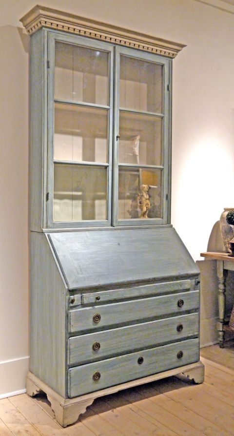 Beautiful Swedish Secretary Desk Refinished In Sweden Soft Blue With Off White Interior
