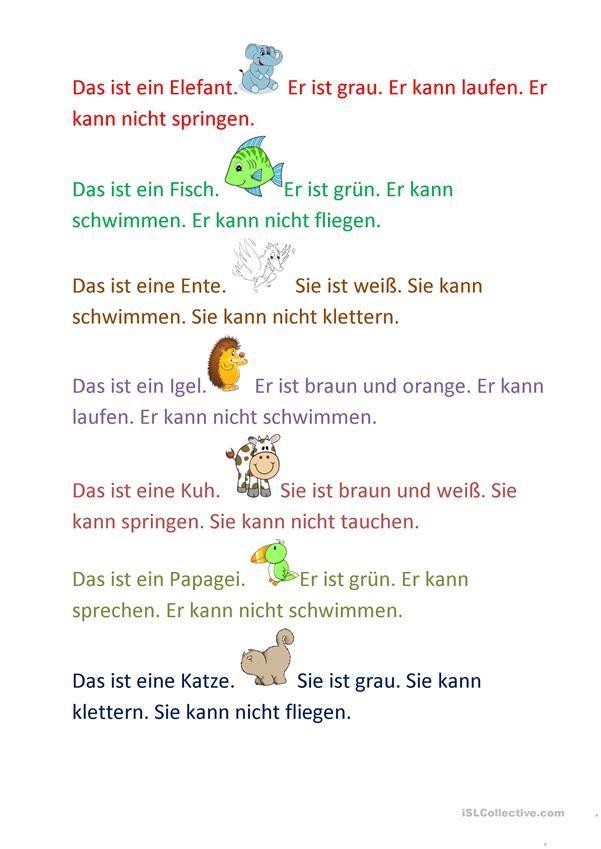 Τα ζώα μπορούν | Hallo, Kinder, wir lernen Deutsch | Pinterest ...