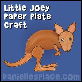 Kangaroo craft joey paper plate craft from www for Australian arts and crafts