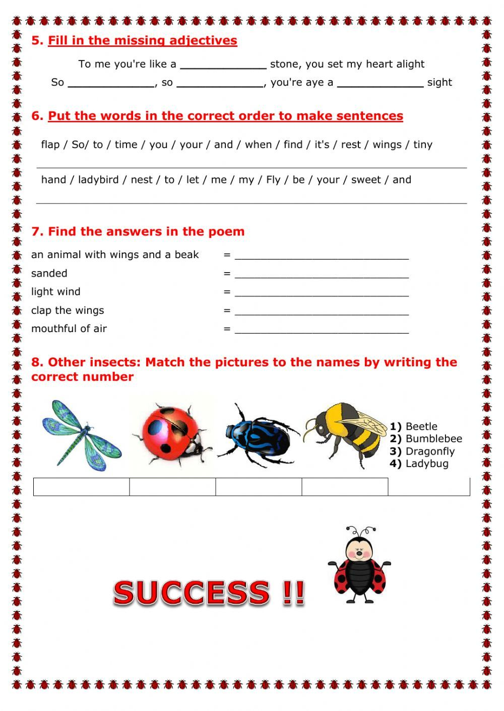 Ladybird Interactive Worksheet English As A Second Language Esl English As A Second Language Worksheets [ 1411 x 1000 Pixel ]
