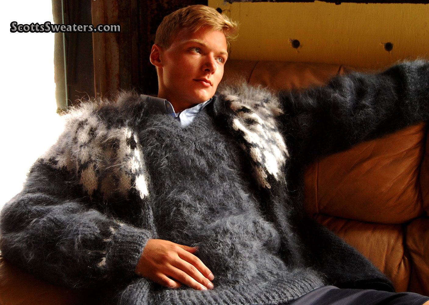 Soft & fuzzy mohair sweater twinset for men, with matching ...