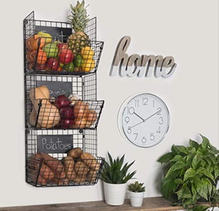Simple Storage Ideas That Are Borderline Genius 10 Pics Wire Fruit Basket Wall Hanging Storage Hanging Wire Basket