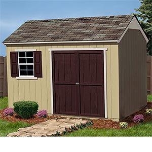 Yardline Burlington 12 X 8 Storage Shed W Floor Includes 32 Sq Ft Overhead Storage Loft 2 Shelves Window Item 461049 R Shed Storage Shed Wood Shed