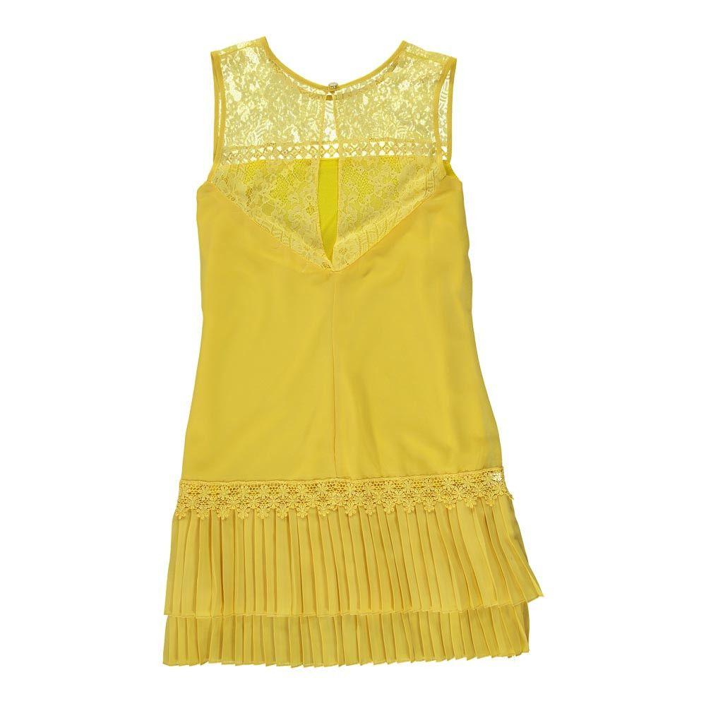 Vestido Plissado Amarelo