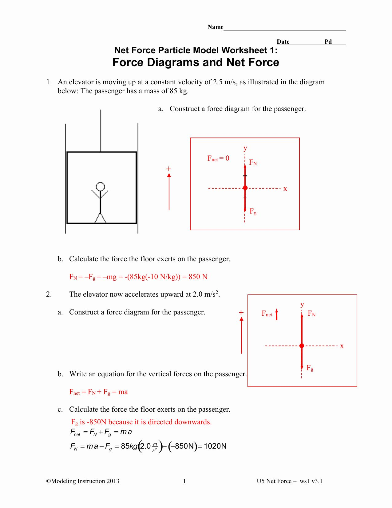Net Force Worksheet Answers Unique Net Force Particle