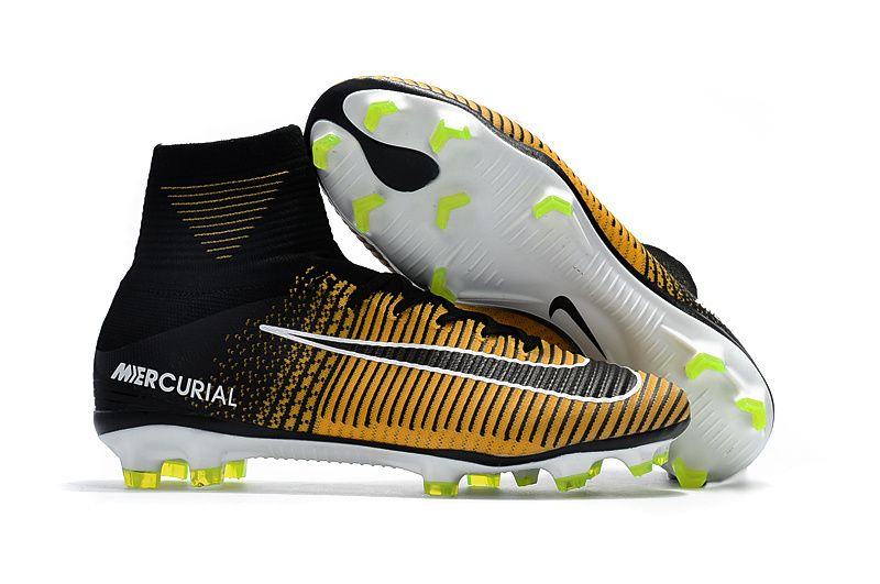 Site Nike Mercurial Superfly V FG Soccer Cleats Yellow Black White