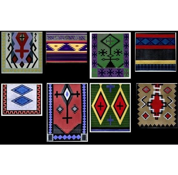 8 Southwestern Indian Afghan Blanket and Pillow by PatternBabe, $3.00