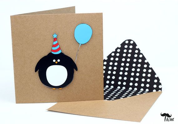 Handmade Penguin Birthday Card Illustrated Cute Funny Penguin Card