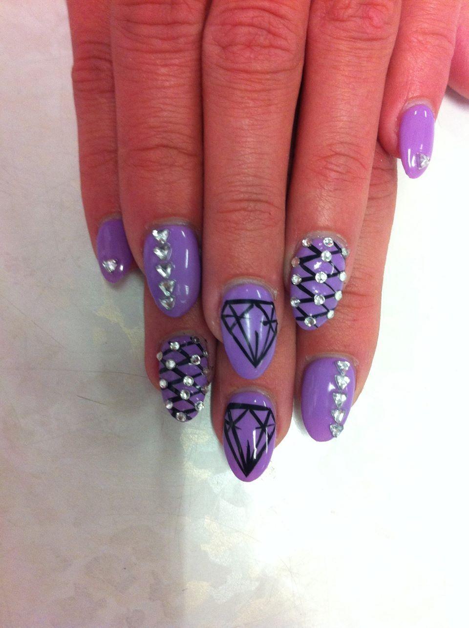 purple black diamond almond nails