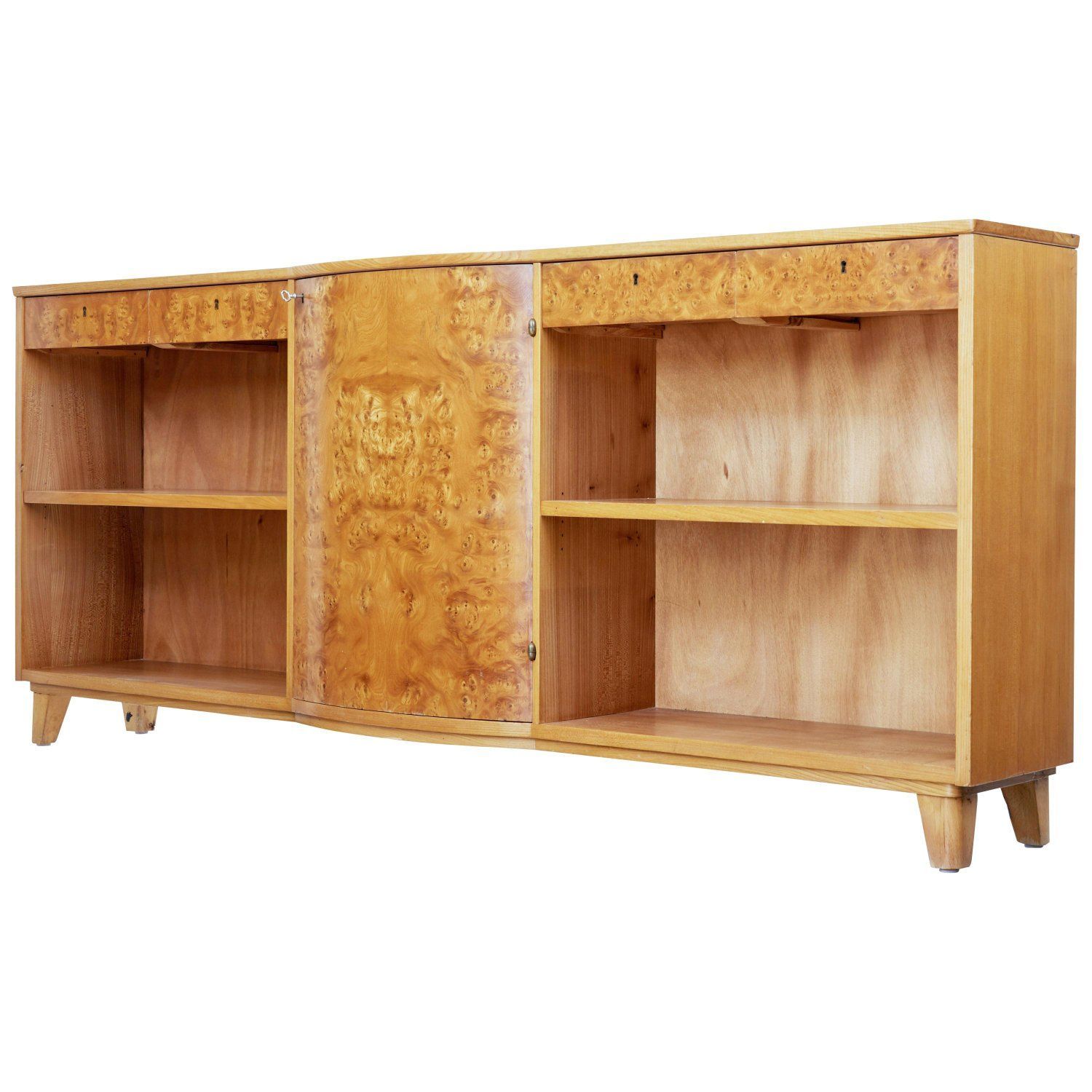 Mid 20th Century Scandinavian Elm Low Bookcase Low Bookcase Bookcase Modern Furniture