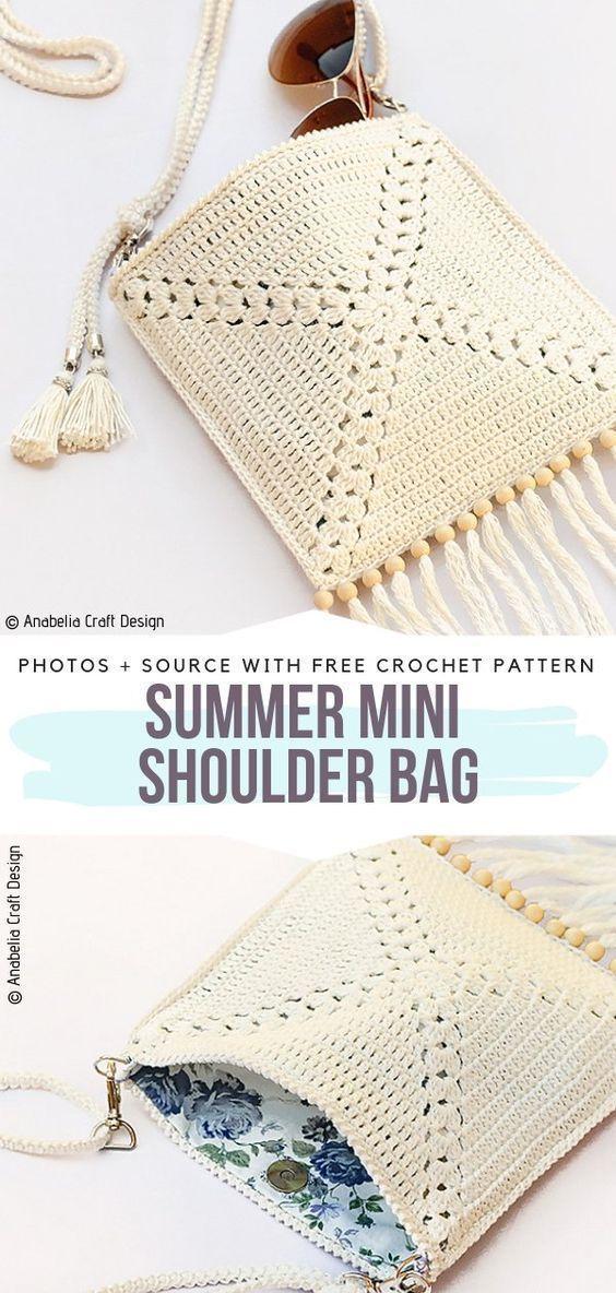 Summer Mini Umhängetasche Free Crochet Pattern Diese kleine Tasche ist perfekt für ...