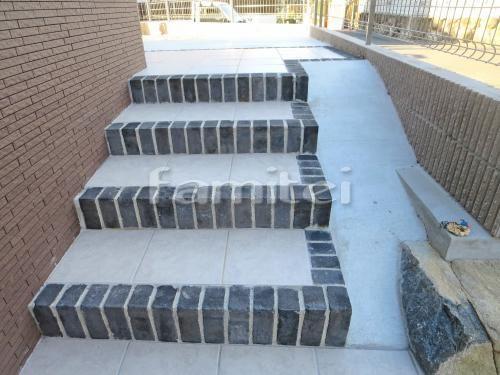 施工例玄関アプローチ階段 踏み場 床タイル貼り 新井窯業 フィウミ2