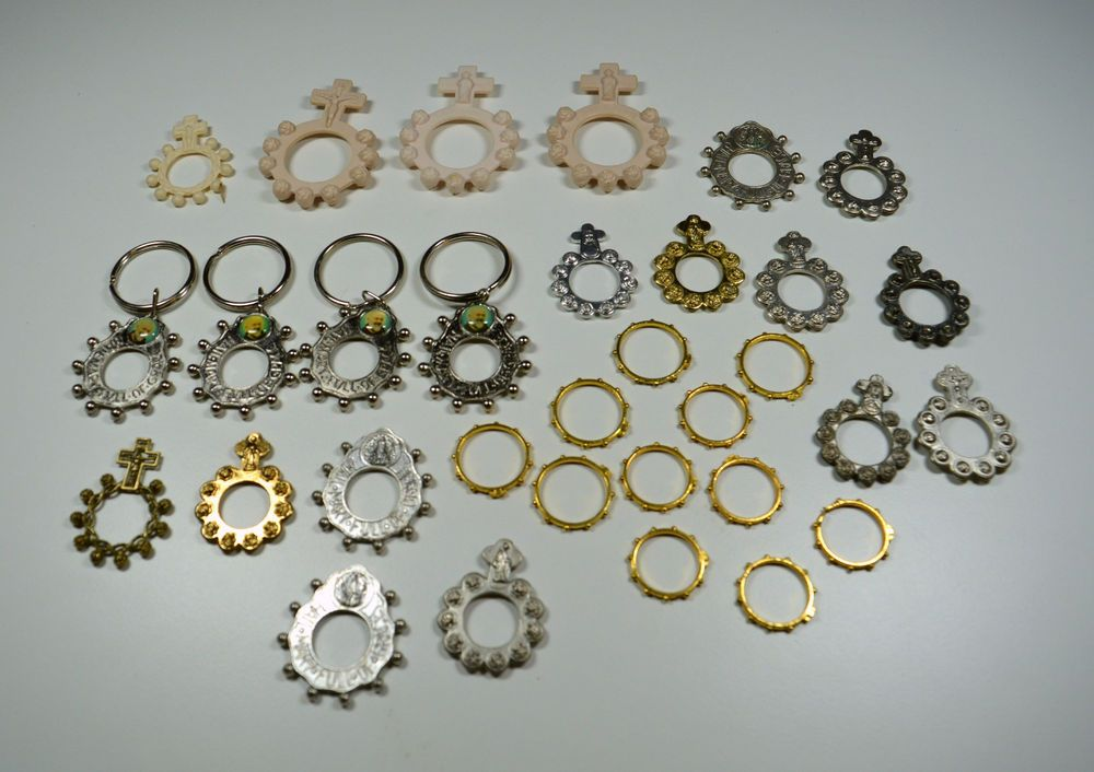 Religious Lot of Pocket Rosary Rings Large Lot of 32 Rosary Rings Various Styles