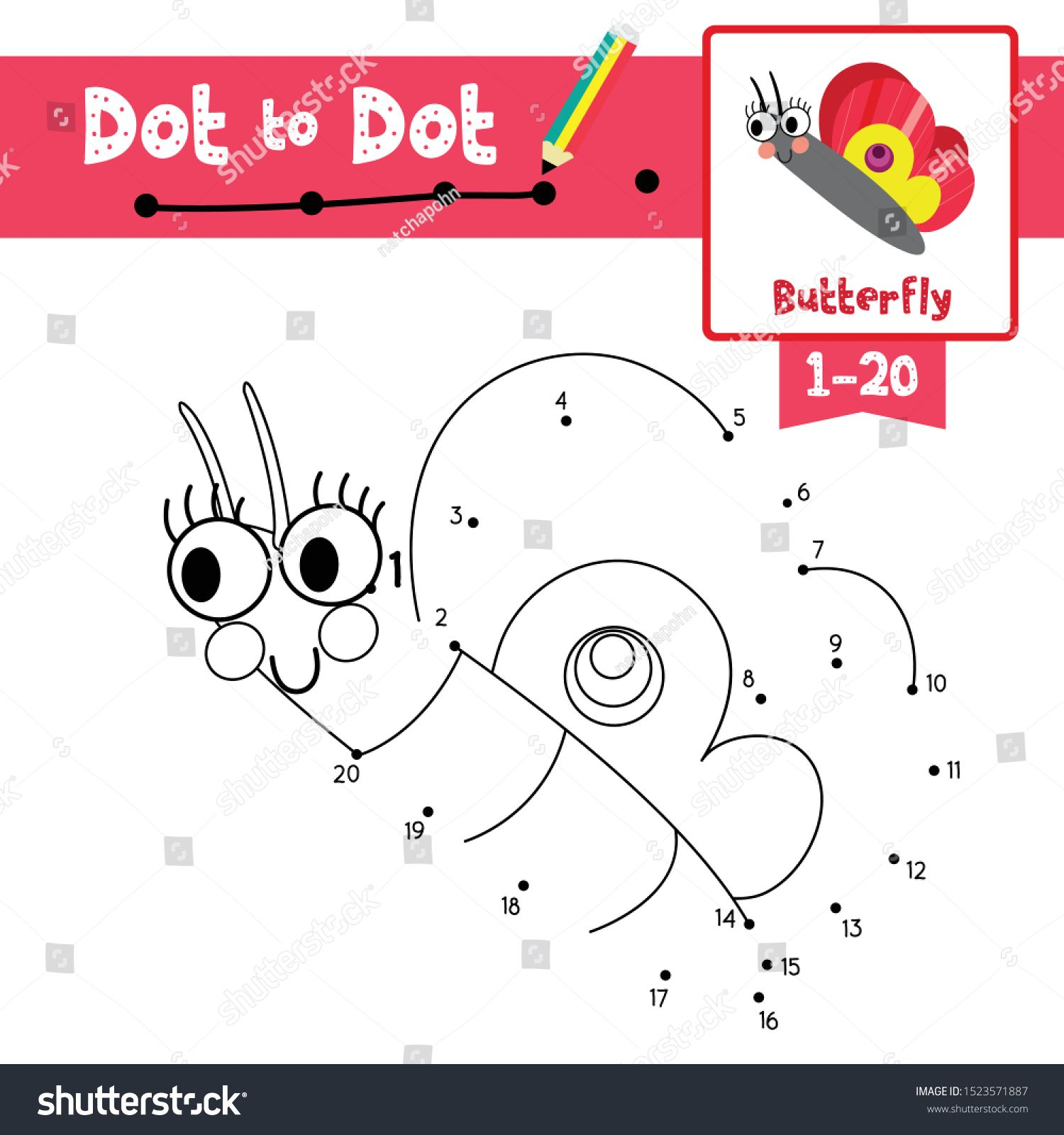 Dot To Dot Educational Game And Coloring Book Of Butterfly