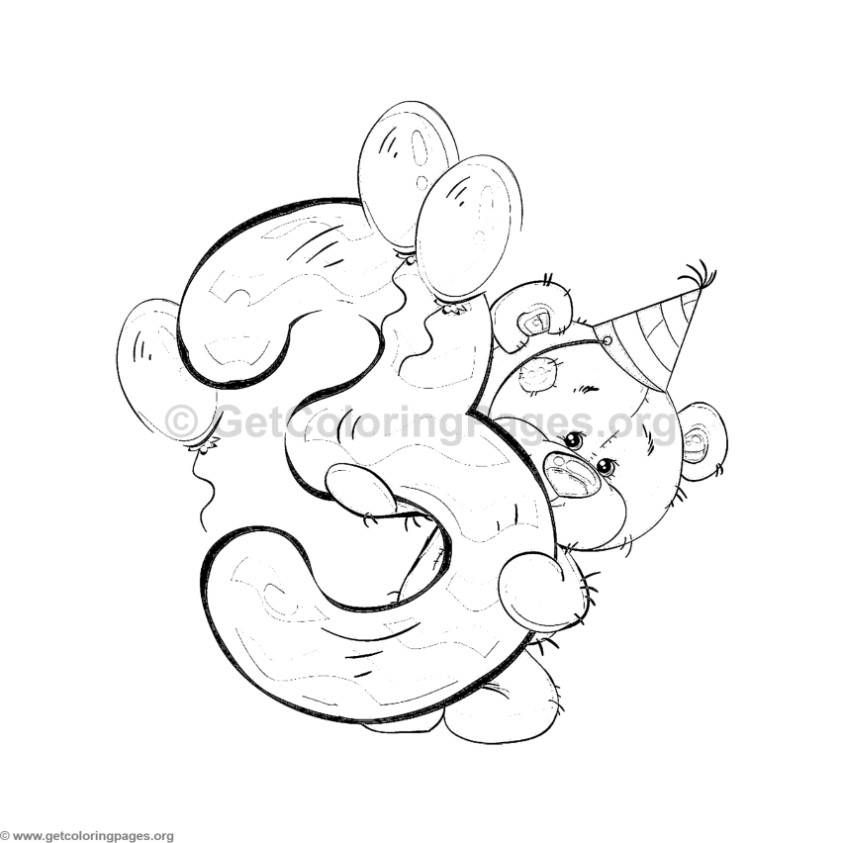 Teddy Bear Number Three Coloring Pages | Art and drawing | Pinterest ...
