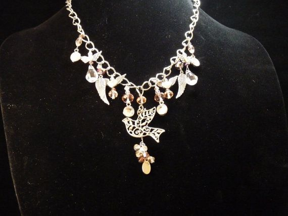 Wings in Flight Necklace  E00027 by LikeACatJewelry on Etsy, $32.00