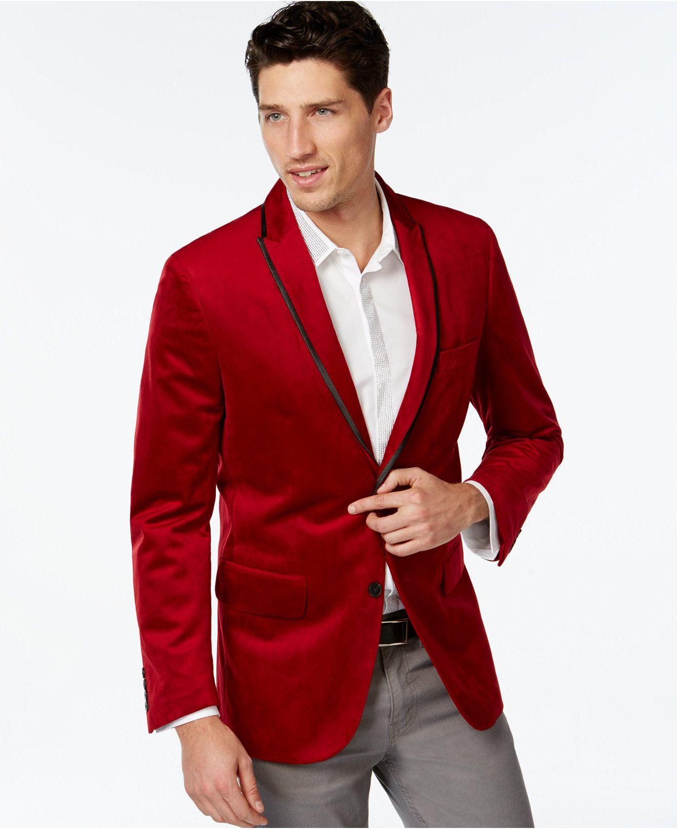 Inc International Concepts Red Velvet Blazer Only At Macy S Blazers Sport Coats Men Macy S Blazer Velvet Blazer Slim Fit Coat [ 1616 x 1320 Pixel ]