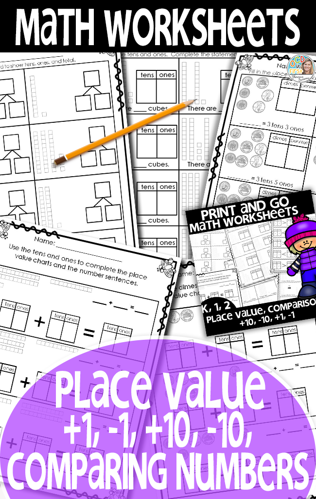 Math Worksheets 1st Grade [Place Value, plus 1, minus 1, plus 10 ...