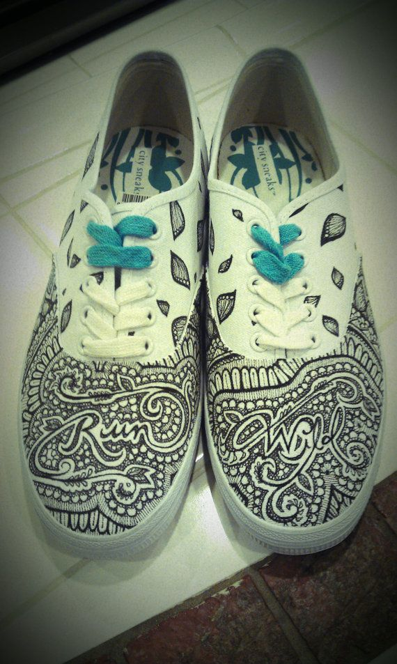 5f2deb7aaf837 HAND DRAWN SHOES run wild my child design by GMLdesigns on Etsy ...