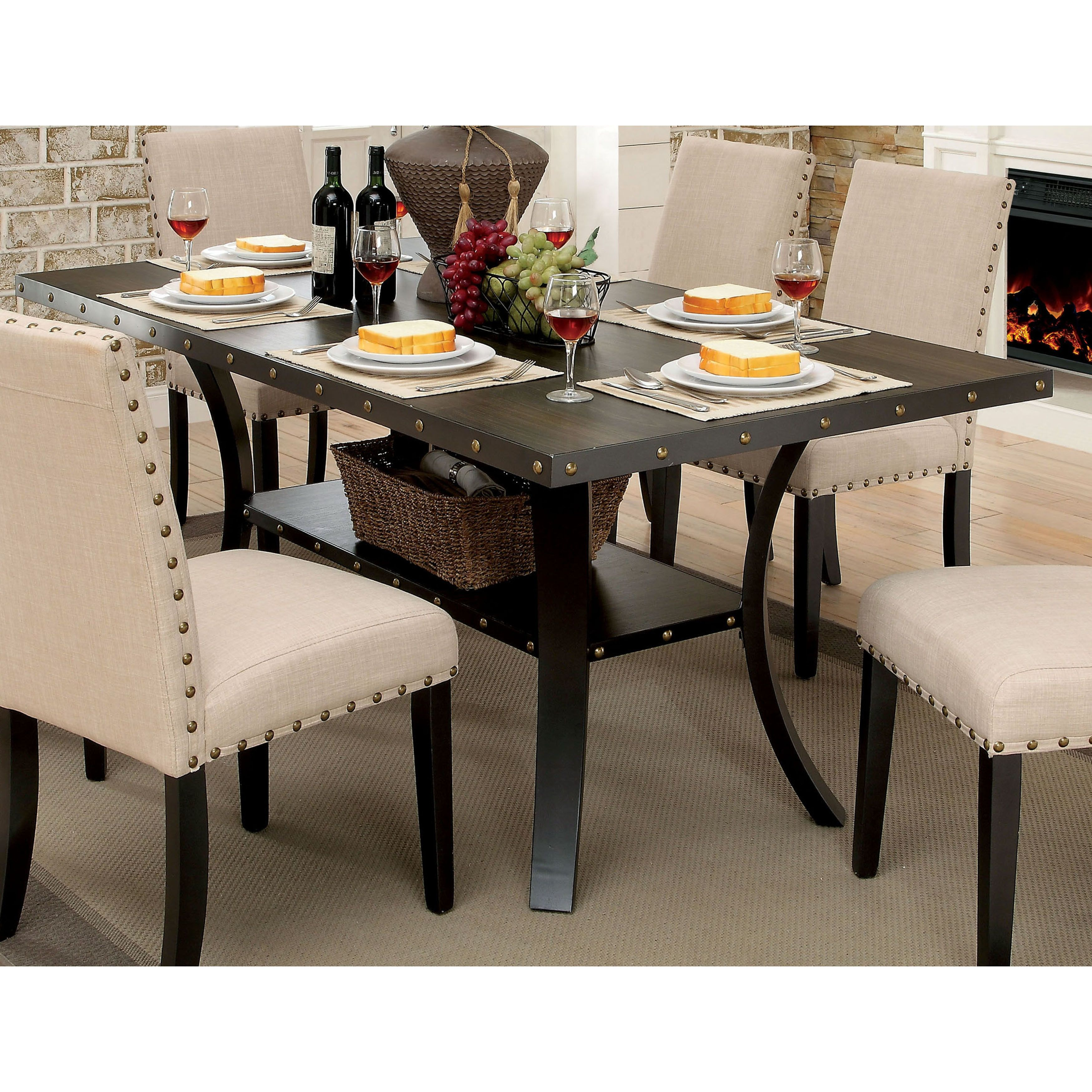 Furniture Of America Simmerton Walnut Brown Finish Wood 70 Inch Industrial Dining Table Dining Table Industrial Dining Table Traditional Dining Room Table