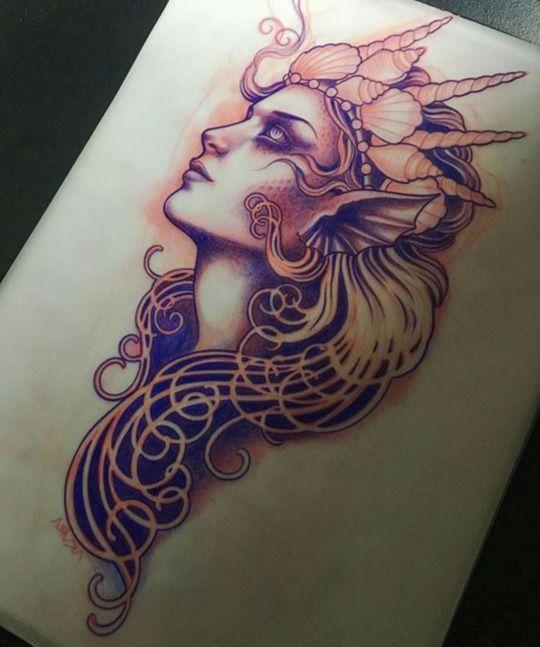 Done By Lynn Akura Https Www Instagram Com Lynnakura Hl En Mermaid Tattoos Siren Tattoo Aphrodite Tattoo