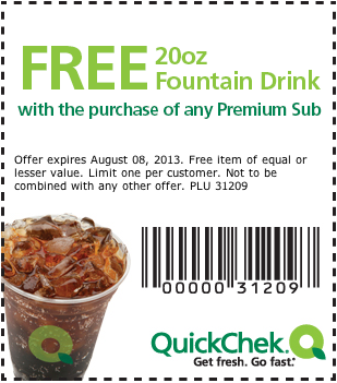 Free 20oz Fountain Drink With The Purchase Of Any Premium Sub Printable Coupons Fountain Drink Coupons