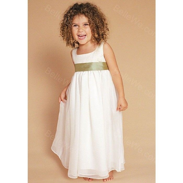robe de cort ge fille en satin longue blanche bretelles mancheron ruban robe de c r monie kid. Black Bedroom Furniture Sets. Home Design Ideas