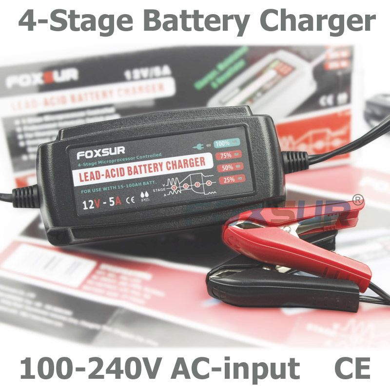 Battery Charger 12V 5A Portable Lead Acid Battery Smart Charger Maintainer Black