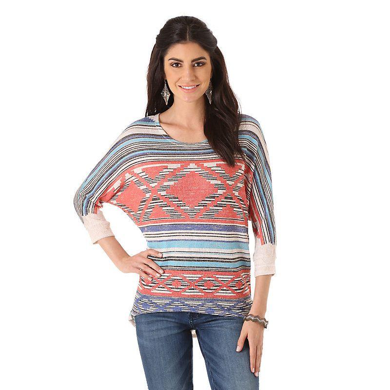 Wrangler Women's Rock 47 Rock47 3 Quarter Sleeve Sweater Knit:Oatmeal/Coral Shirt (Size: Medium) Light Blue