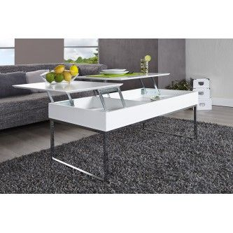 Table basse design avec plateau relevable blanc oriane for Table basse multifonction