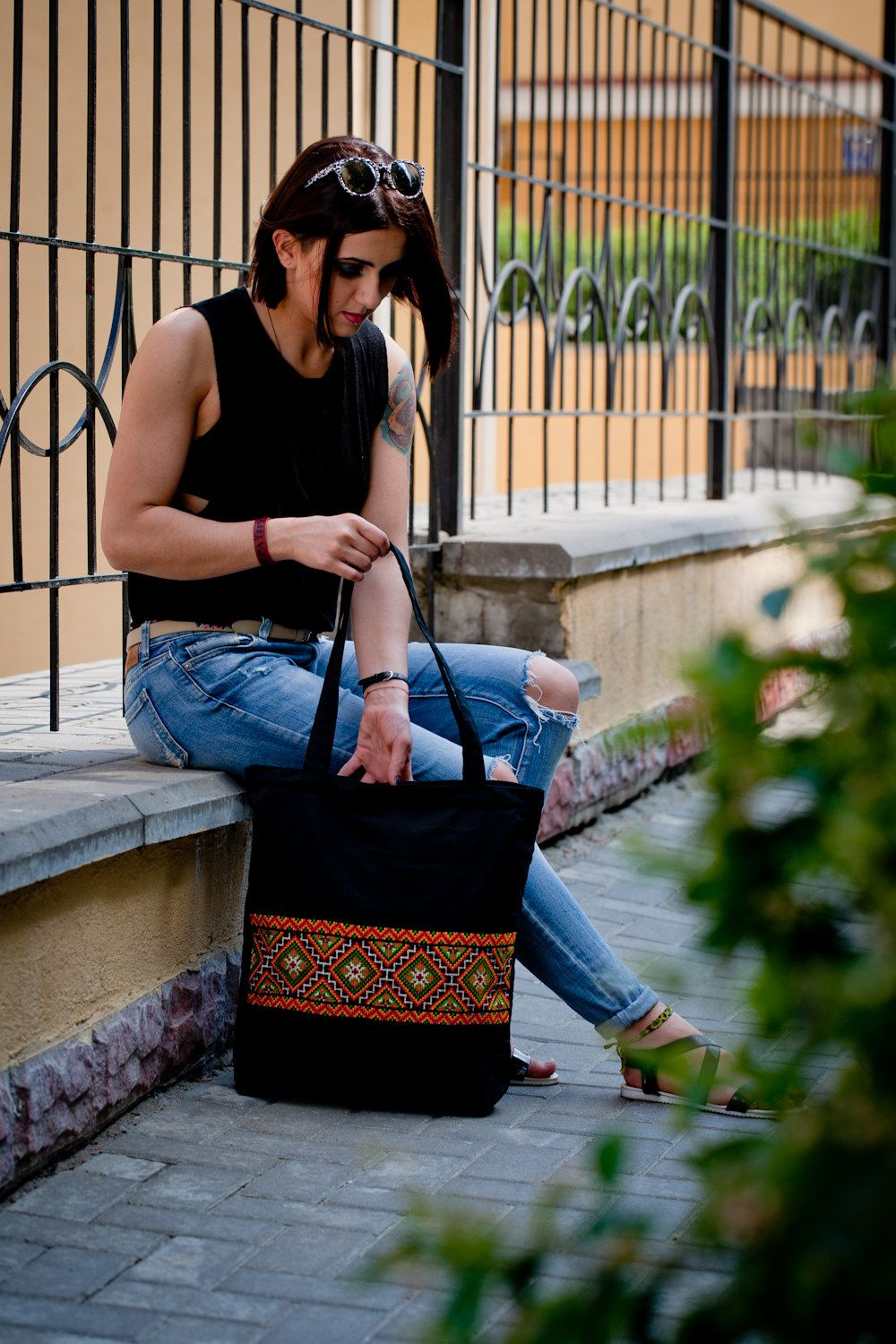 Black Canvas Bag With Ukrainian Embroidery Ethnic Folk Blask Handmade Bagembroidered Shoulder Beach By Gutsulkabeauty On Etsy