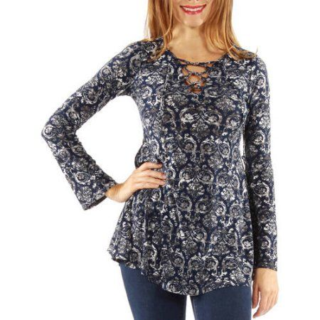 Women's Pretty Print Silky Tunic Top, Size: Medium