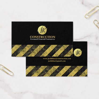 monogram construction contractor business cards - Contractor Business Cards