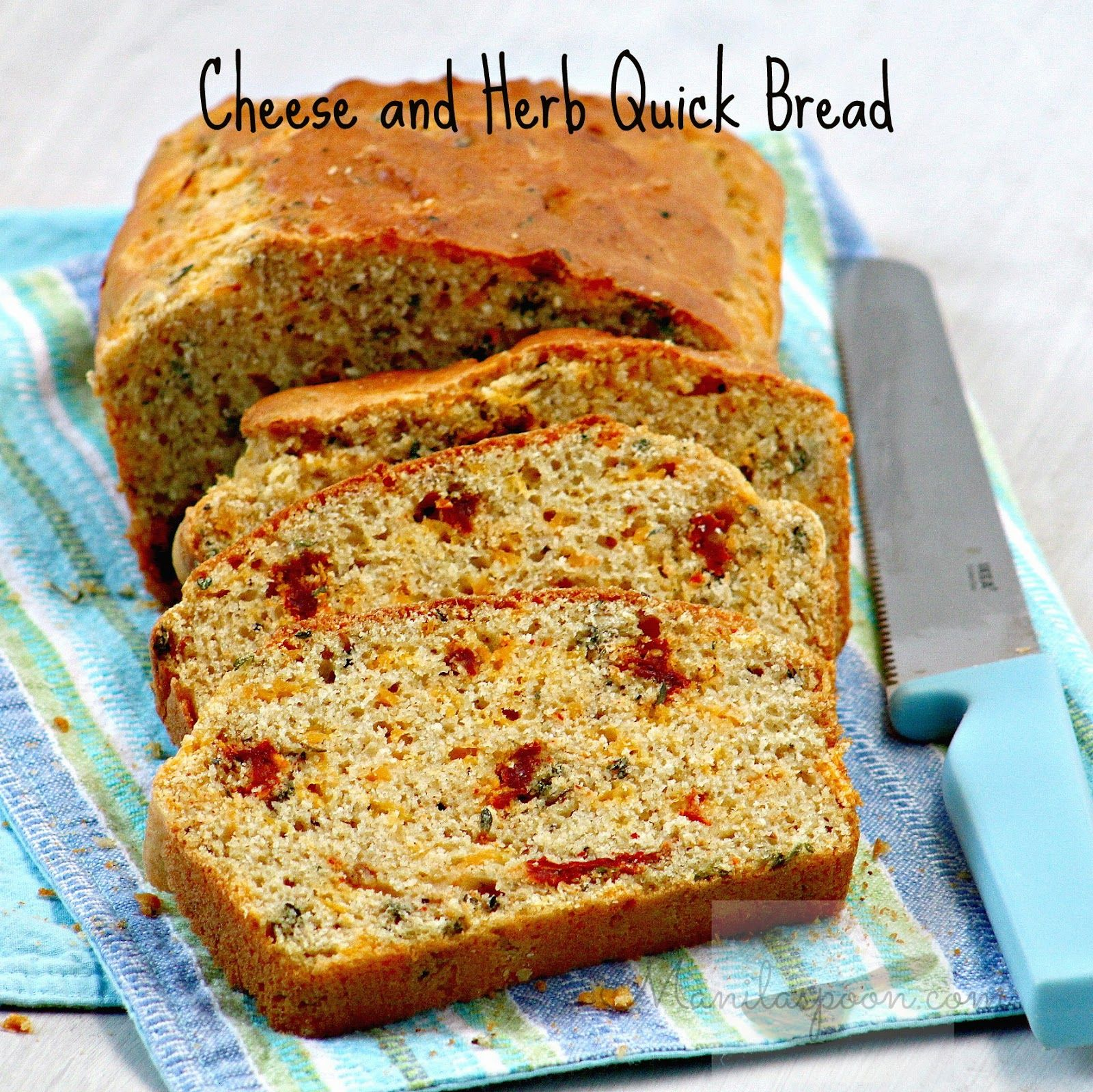 CHEESE, HERB and SUN-DRIED TOMATO QUICK BREAD - this savory bread packs in a lot of flavor! Great as a side dish or as a savory accompaniment to your tea! Enjoy!