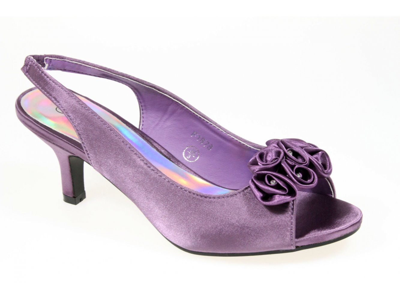 Shuperb ALEXIA Womens Low Heel Satin Bridesmaid Shoes Purple ...