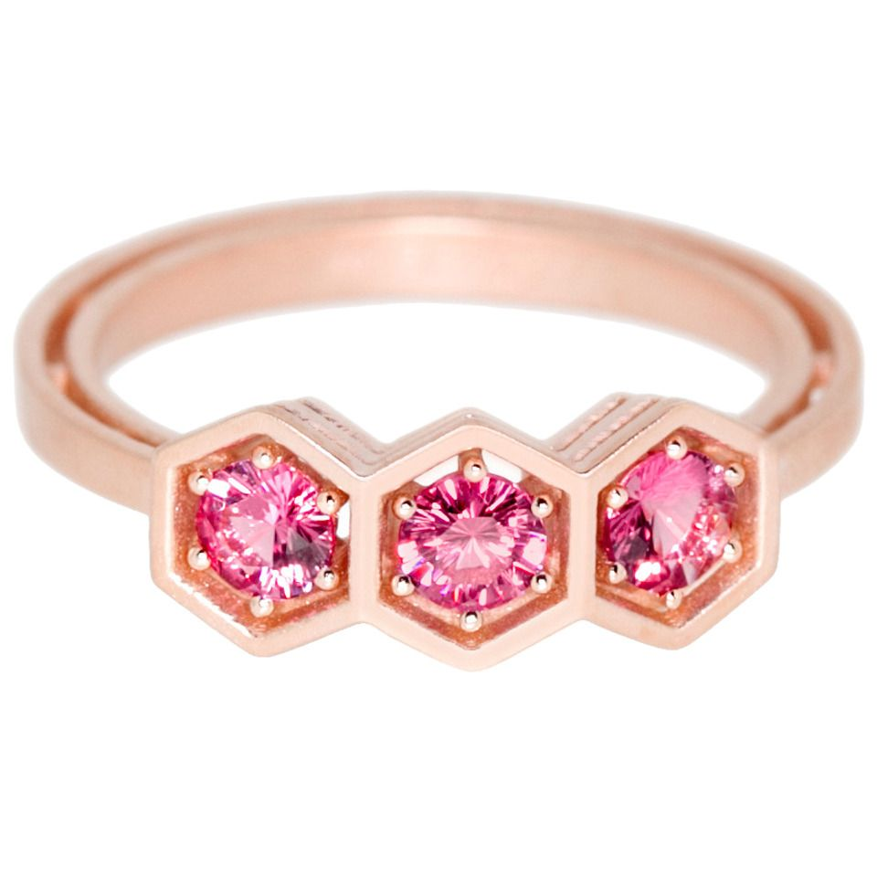 Pink Spinel Gold Three-Stone Ring | Three stone rings, Stone rings ...
