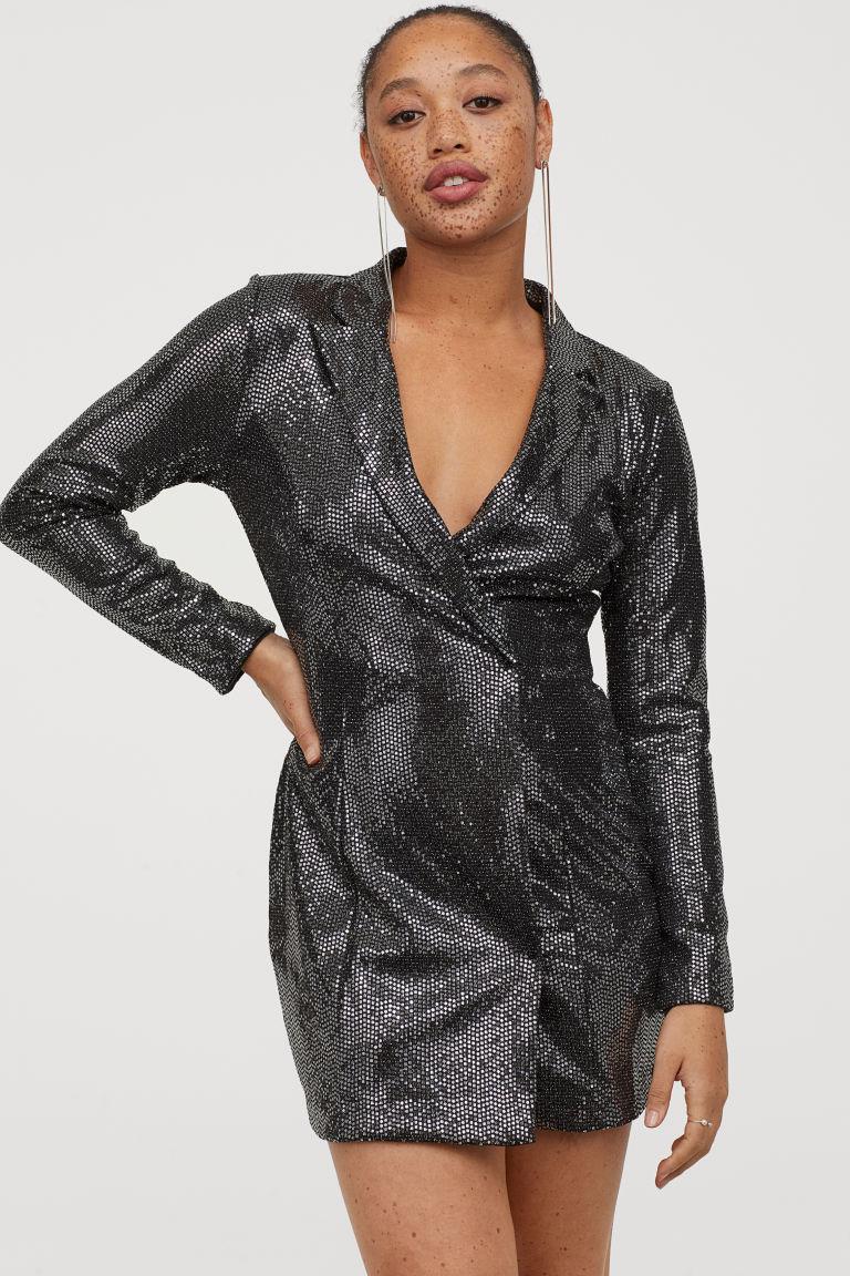 Sequined Jacket Dress Black Silver Coloured Ladies H M Gb Black Dress Jacket Jacket Dress Dresses [ 1152 x 768 Pixel ]