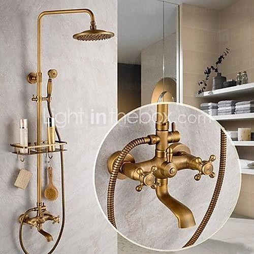 Shower System Set Rainfall Antique Antique Brass Shower System Ceramic Valve Bath Shower Mixer Taps Two Handles Five Holes 2020 Us 249 99 Shower Faucet Sets Bathroom Shower Faucets Outdoor Shower Fixtures