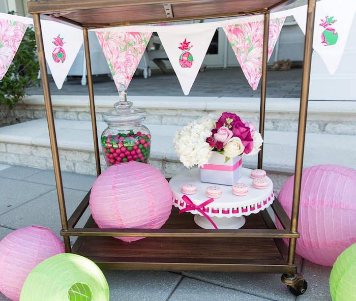Banner on sweets cart from Lilly-Pulitzer Tropical Bridal Luncheon at Kara's Party Ideas. See the on-point details here!