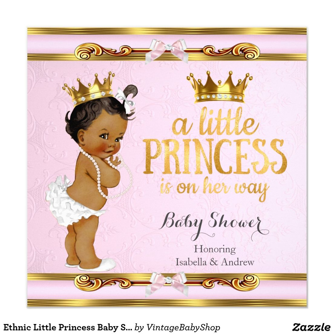 ethnic little princess baby shower pink gold card   baby shower, Baby shower invitations