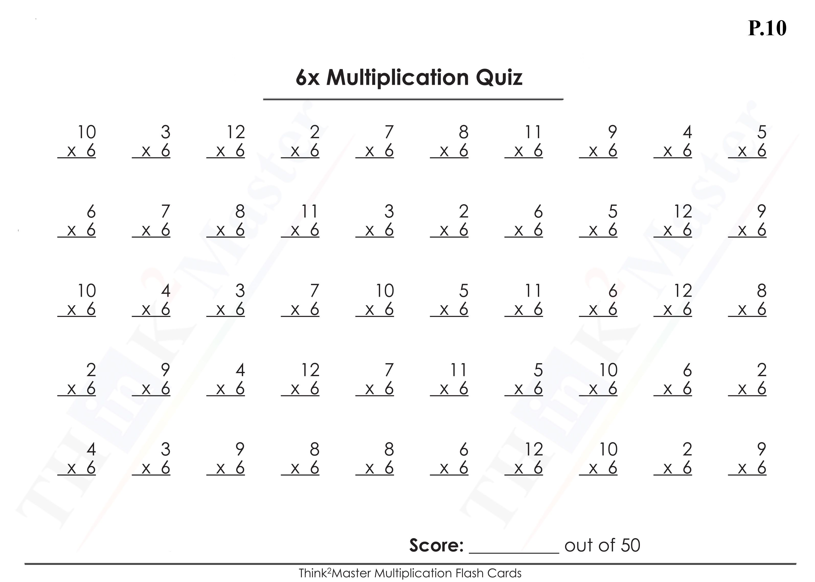 Free Printable 6x Multiplication Worksheet