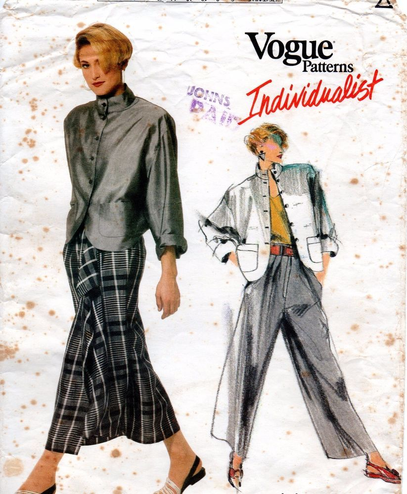 583e1116b90 1980s Vogue Individualist Sewing Pattern 1738 Carol Horn Jacket Skirt Pants  Sz10