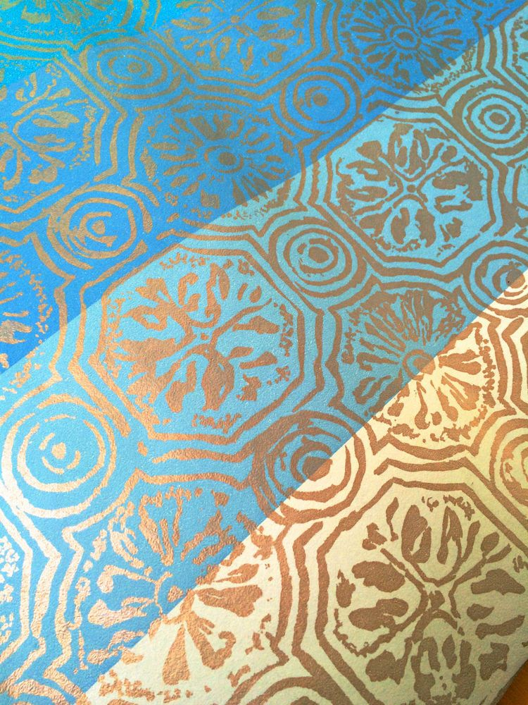 Vintage Complete Roll Mid Century Modern Wallpaper Blue Gold Union Made 68111