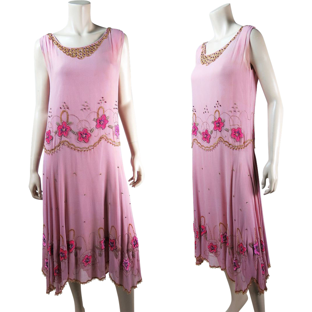 1920\'s Vintage Beaded Pink Silk Dress With Pink Rhinestones, Sequins ...