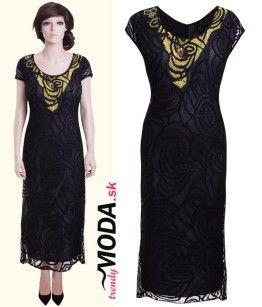 48487251a211 Dlhé čierne spoločenské šaty pre moletky s originálnou aplikáciou -  trendymoda.sk
