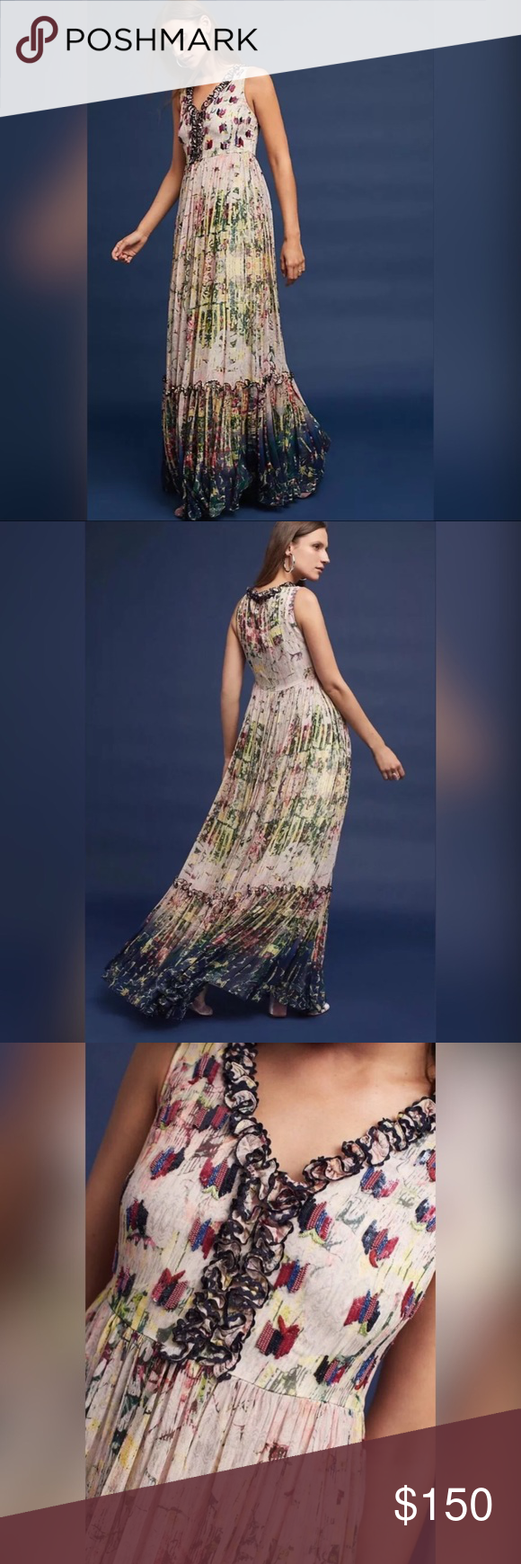 1795050535112 NEW Anthropologie Cydney Tiered Maxi Dress Bhanuni by Jyoti Details A  gathered waist flatters on this elegant floral maxi that's suited for any  occasion.